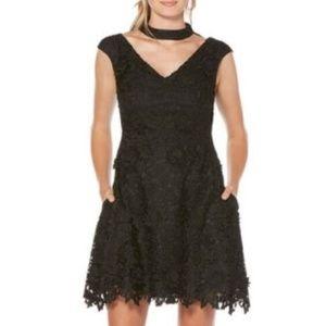 NWT Black Crochet Choker Cocktail Pocket Mid Dress
